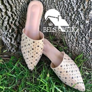 Shoes - Studded Woven Flat Mules in Natural Color